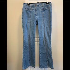 Escada pink stitch blue stretch jean